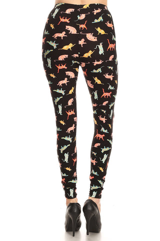 Women's 3 X 5X Playful Cats Pattern Printed Leggings