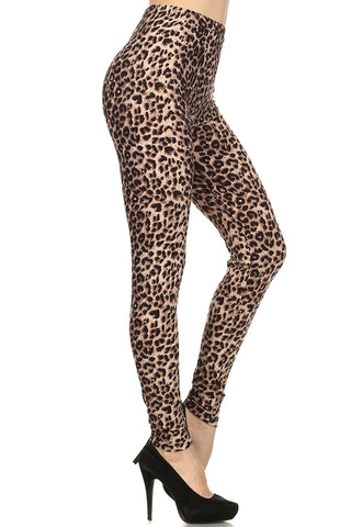Women's Plus Brown Cheetah Animal Pattern Printed Leggings