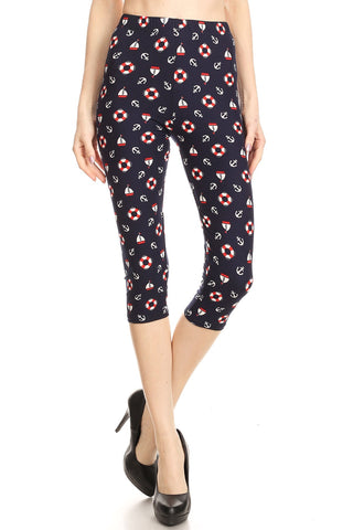 Women's Plus Life Ring Anchor Yacht Printed Cropped Capri Leggings