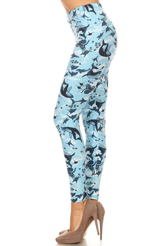 Women's Plus Whale Shark Octopus Pattern Printed Leggings