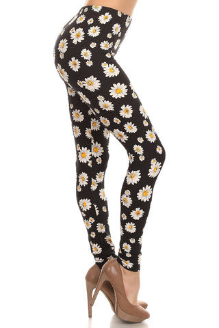 Women's Regular Vivid Daisy Couture Pattern Print Leggings