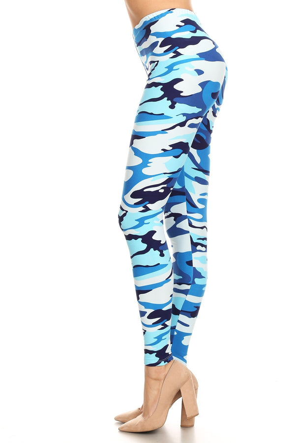 Women's Plus Blue Camouflage Army Pattern Printed Leggings