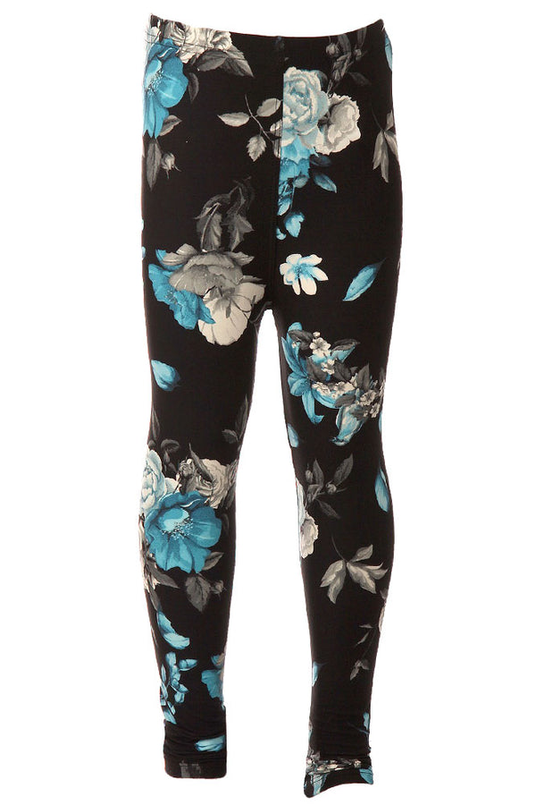 Kid's Blue Flower and Bird Pattern Printed Leggings