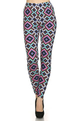 Women's Plus Aztec Diamond Pattern Printed Leggings - Pink Blue