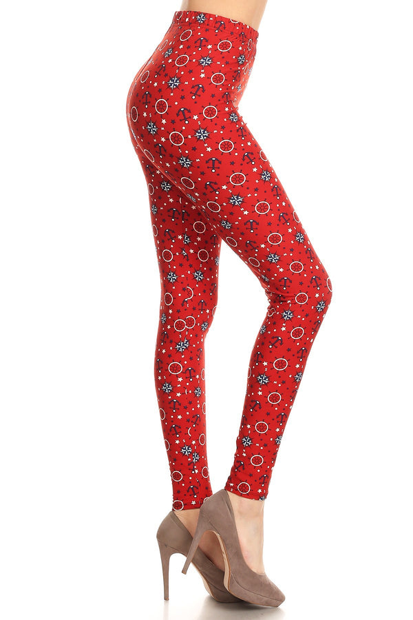 Women's Plus colorful Anchor Compass Pattern Printed Leggings