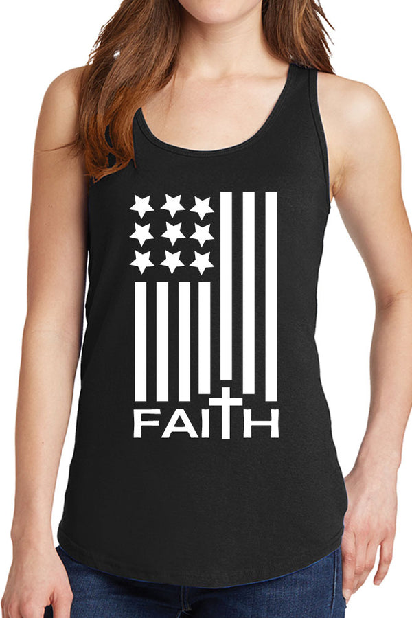 Women's Faith American Flag Design Core Cotton Tank Tops -XS~4XL