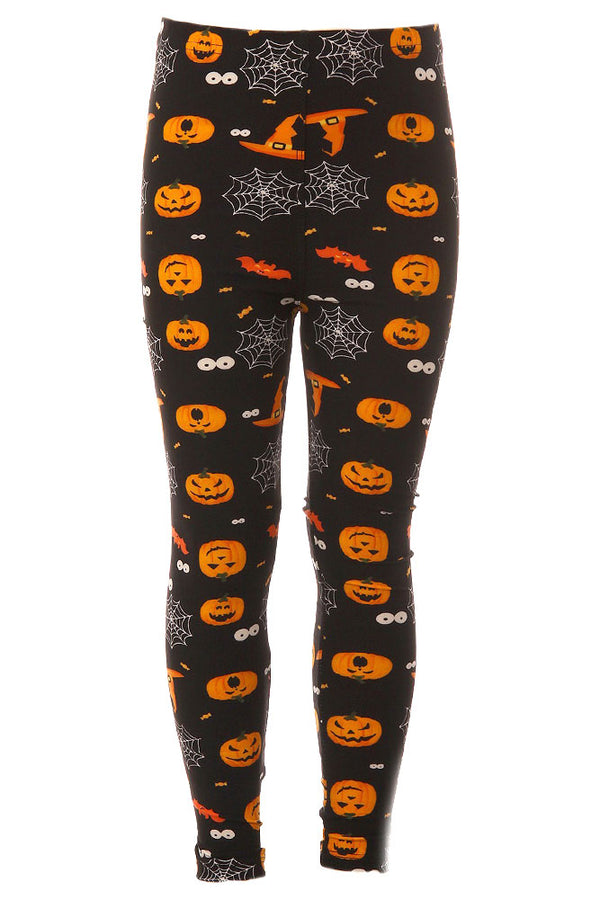Kid's Colorful Pumpkin Spider Web Pattern Printed Leggings