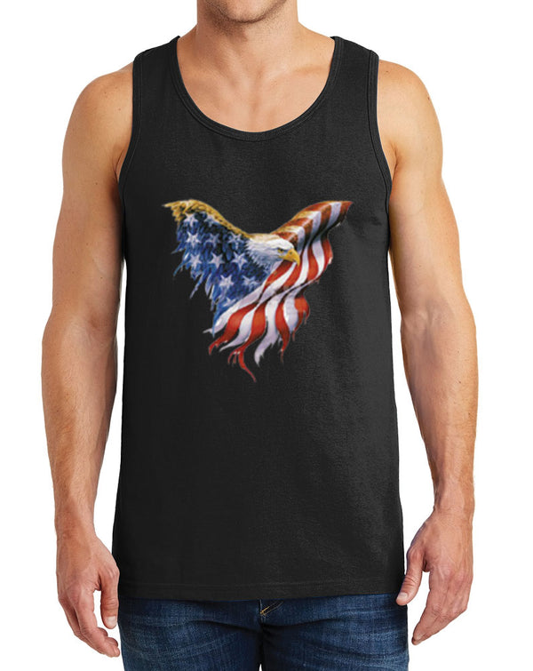 Men's Eagle American Flag Heavy Cotton Tank Tops – XS ~ 3XL
