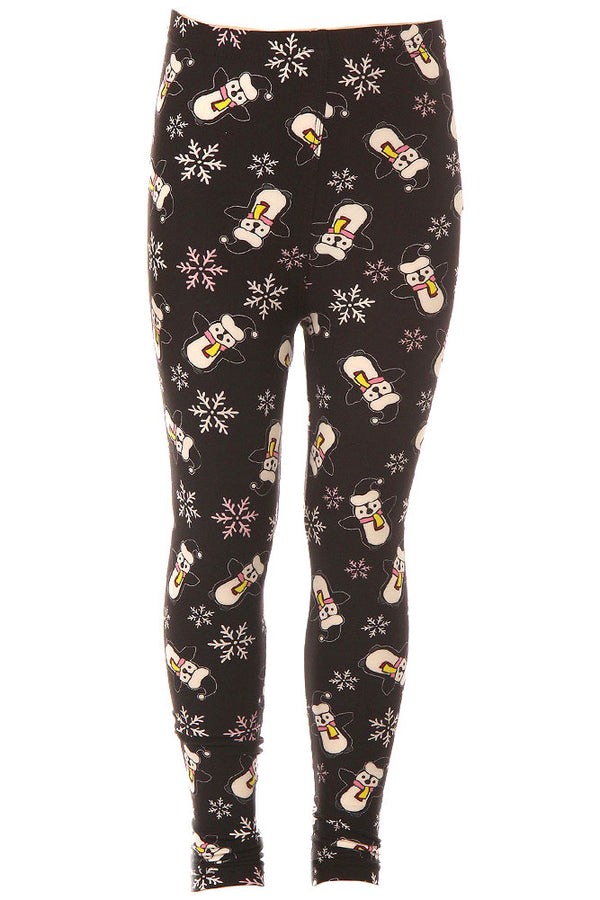 Kid's Penguin Snowman Snowflake Pattern Printed Leggings