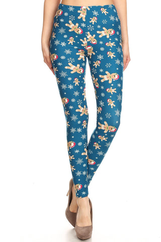 Women's Plus Gingerbread Man Pattern Printed Leggings