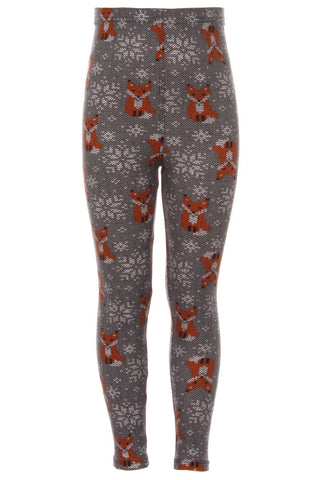 Girl's Fox & Fair Isle Pattern Printed Leggings