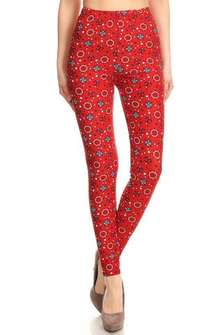 Women's Regular colorful Anchor Compass Pattern Printed Leggings