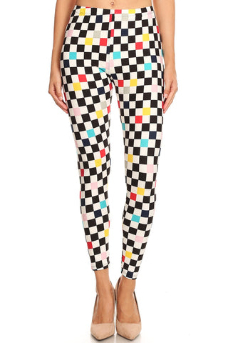 Women's 3X 5X Colorful Checkered Pattern Printed Leggings