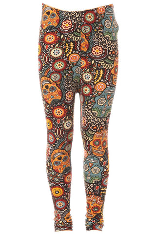 Kid's Ornate Sugar Skull Pattern Printed Leggings