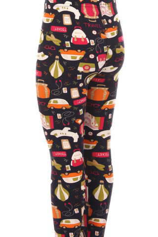 Kid's Travel Ticket Theme Pattern Printed Leggings