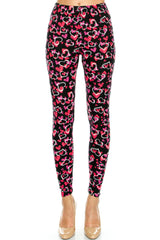 Women's Regular Outlined Hearts Pattern Printed Leggings - Black Pink