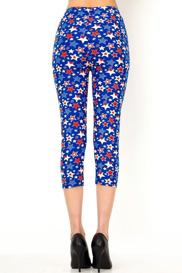 Women's Regular Blue Red Star American Flag Printed Cropped Capri Leggings