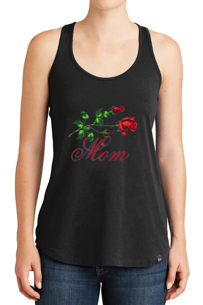 Women's Mom with Red Roses Design Graphic New Era Heritage Blend Racerback Tank Tops for Regular and Plus - XS ~ 4XL