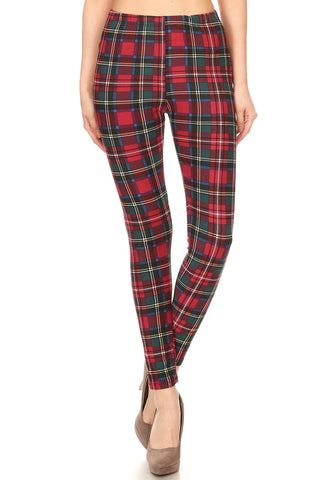 Women's Regular Burgundy Green Plaid Pattern Printed Leggings