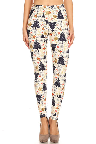 Women's Plus Fun Christmas Theme Pattern Printed Leggings