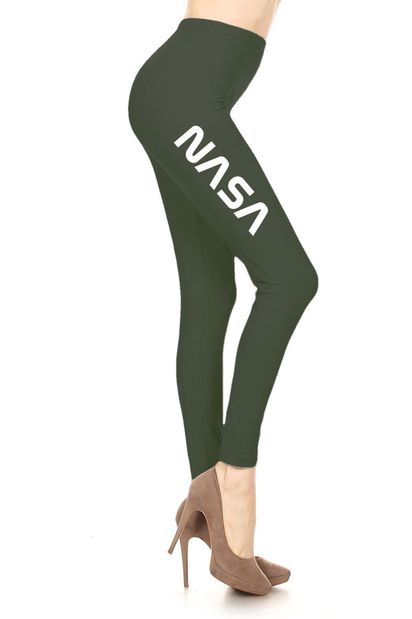 Women's NASA Letter Printed Leggings for Regular Plus 3X5X …