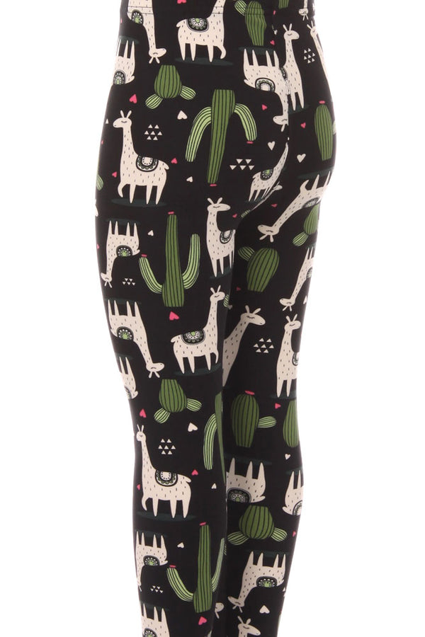 Kid's White Giraffe Green Cactus Pattern Printed Leggings