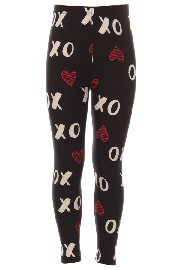 Kid's colorful XO hearts Pattern Printed Leggings