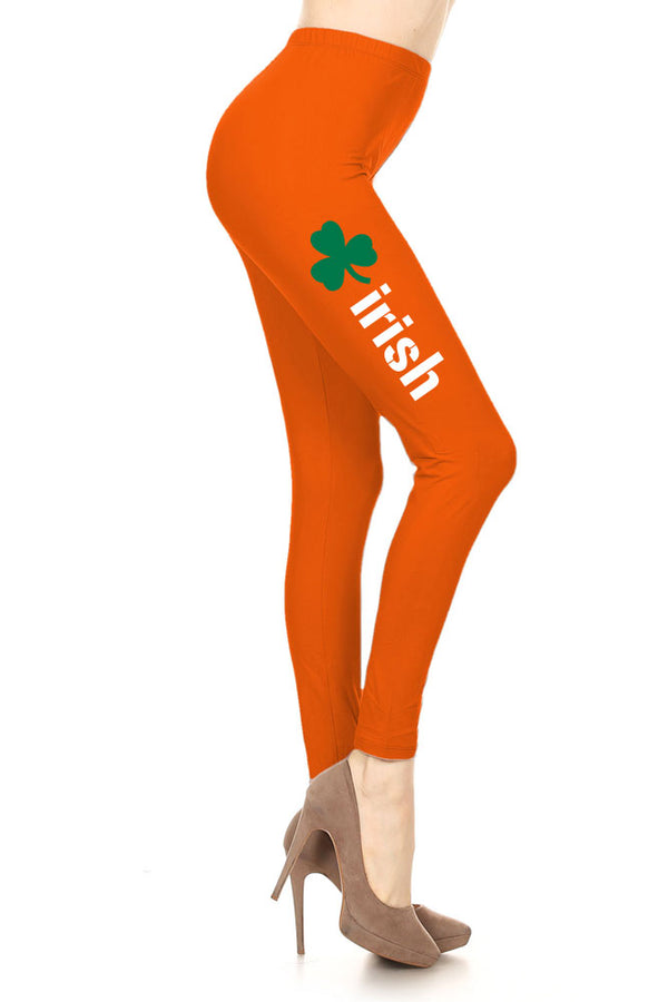 Women's Irish Word with Green Clover Design Printed Leggings for Regular Plus 3X5X
