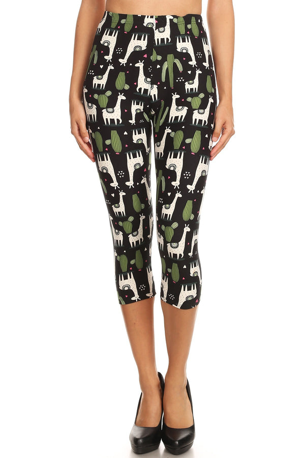 Women's Regular White Giraffe Green Cactus Printed Cropped Capri Leggings