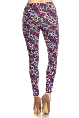 Women's Plus Purple Sugar Skull Ribbon Pattern Printed Leggings