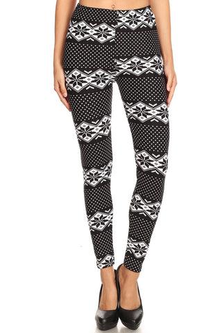 Women's Regular B&W Dianmond Fair Isle Pattern Printed Leggings