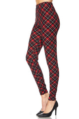 Women's Plus Christmas Plaid Red Pattern Printed Leggings
