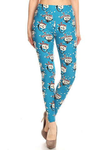 Women's 3X 5X Snowman with Scarf Pattern Printed Leggings