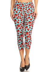 Women's Plus colorful Ladybugs Insect Printed Cropped Capri Leggings