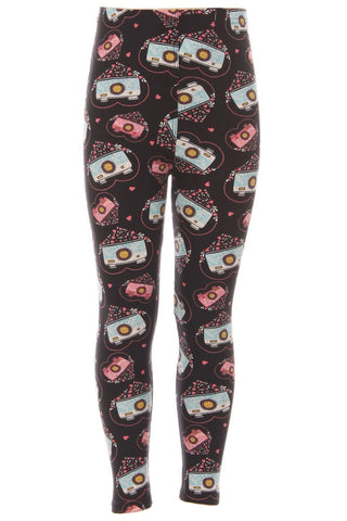Kid's Camera with Hearts Pattern Printed Leggings