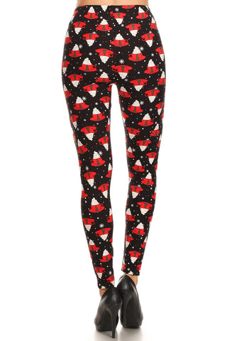 Women's 3X 5X Christmas Coffee Mug Pattern Printed Leggings