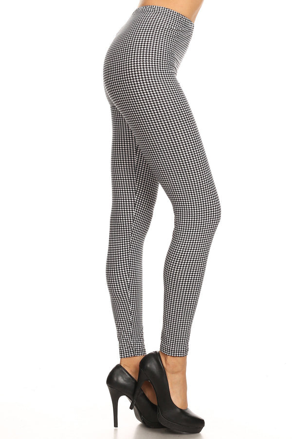 Women's Plus Hound Tooth Pattern Printed Leggings