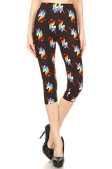 Women's Regular colorful Rainbow Unicorn Printed Cropped Capri Leggings