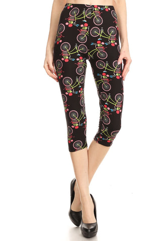 Women's Plus colorful Bicycle Flower Printed Cropped Capri Leggings