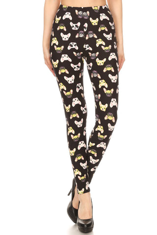 Women's Regular French Bulldog Animal Pattern Printed Leggings