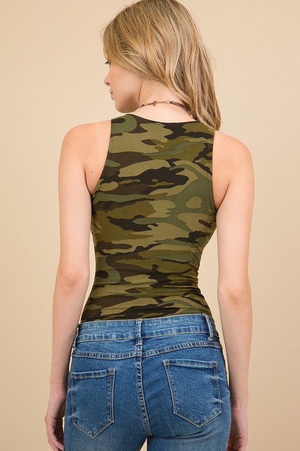 Women's Regular Olive Brown Camo Bodysuit