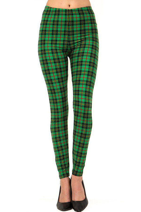 Women's Plus Holiday Green Wine Plaid Pattern Printed Leggings