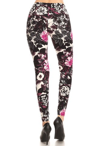 Women's Regular Black White Flower with Pink Pattern Printed Leggings