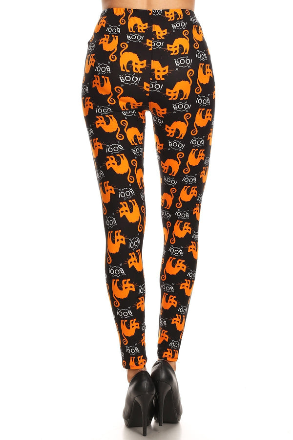 Women's Plus Halloween Scary Cat Boo Pattern Printed Leggings