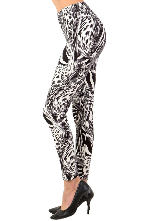 Women's Plus Grey Animal Skin Pattern Printed Leggings