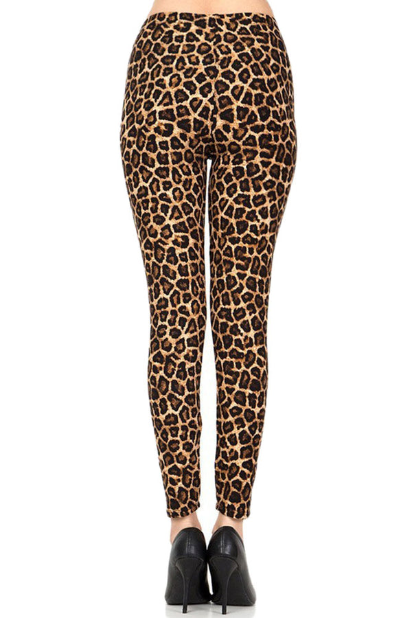 Women's Plus Brown Leopard Animal Skin Pattern Printed Leggings