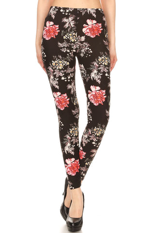 Women's Plus Red Big Yellow Small Flower Pattern Printed Leggings