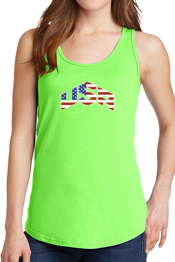 Women's USA with American Flag Core Cotton Tank Tops -XS~4XL