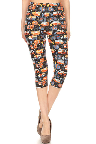 Women's Plus colorful Campervan RV Printed Cropped Capri Leggings