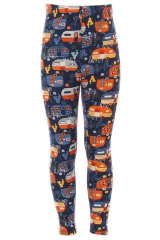Kid's Blue Orange Camper Vans Pattern Printed Leggings